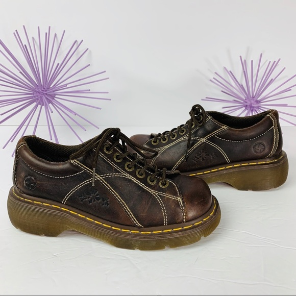 Dr Martens Air Cushion Sole Brown With Flower